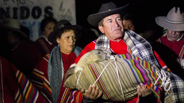 The mayor of Coyllurqui, Walter Bocangel Gamarra, carries the bundled condor in advance of its battle with the bull.