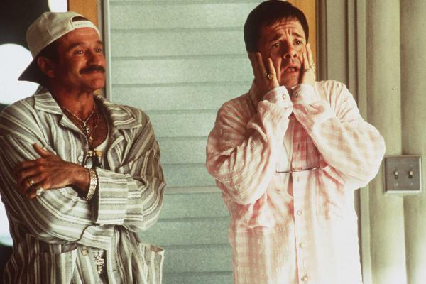 Williams and Nathan Lane played gay parents in the 1996 film <em>The Birdcage,</em> a remake of the French film <em>La Cage aux Folles.</em>