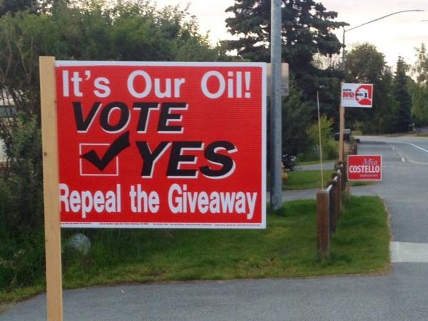 Alaska campaigns for and against Ballot Measure 1, which would repeal an oil industry tax cut.