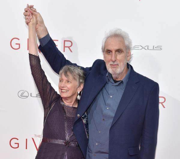 Author Lois Lowry (left) and director Phillip Noyce attend 'The Giver' premiere at Ziegfeld Theater on August 11, 2014 in New York City. (Dimitrios Kambouris/Getty Images)