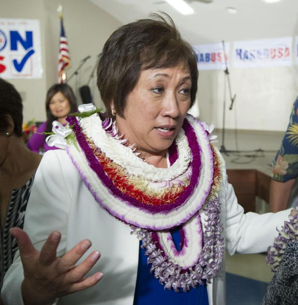 U.S. Rep. Colleen Hanabusa speaks at her campaign headquarters on Aug. 9 in Honolulu.