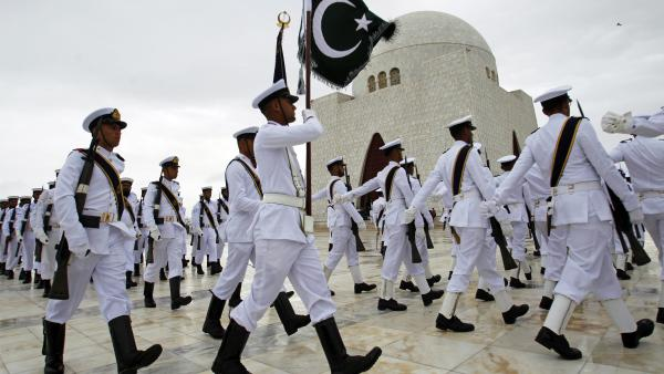 Members of the Pakistani navy march at the mausoleum of Muhammad Ali Jinnah, founder of Pakistan, to celebrate Independence Day in Karachi. Security was heavy in the capital Islamabad as the government braced for protests in addition to the ceremonies and celebrations.