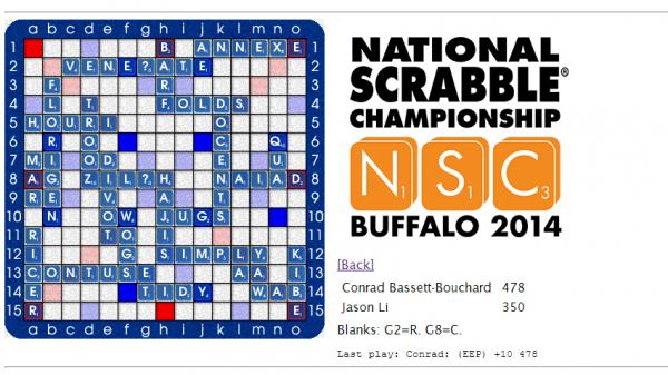 An online tally of the words played in the final round of the 2014 National Scrabble Championship, between Conrad Bassett-Bouchard and Jason Li.