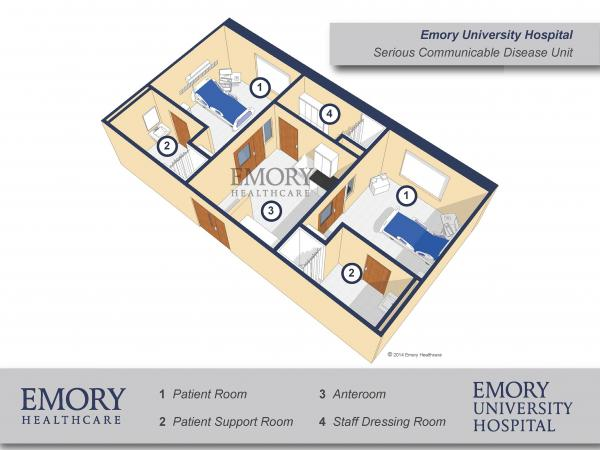 Negative air pressure at Emory University Hospital's Serious Communicable Disease Unit ensures that air moves only from the hallway to the anteroom to the patient room and not in the opposite direction. While useful in preventing the spread of airborne infectious diseases, it is not a crucial feature for limiting Ebola, which is not airborne.
