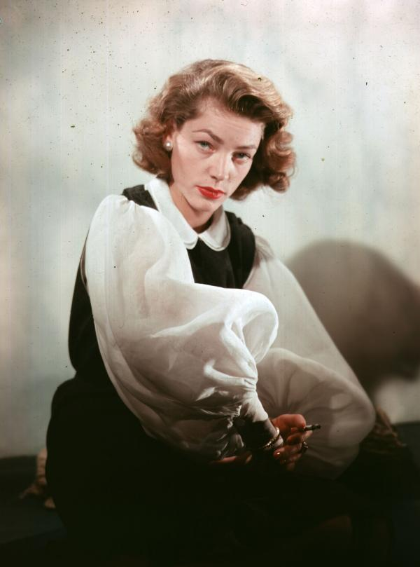 "Lauren Bacall says she never set out to have a <em>look.</em> ""It was just a way to keep my head steady,"" she insists."