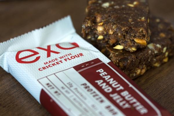 Exo's peanut butter-and-jelly bar contains about 40 ground-up crickets and has a familiar nutty, sweet flavor.