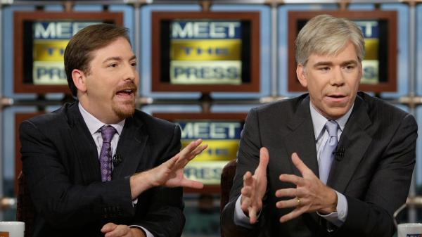 Chuck Todd (left) and David Gregory appear together on NBC's <em>Meet the Press</em> in 2008.