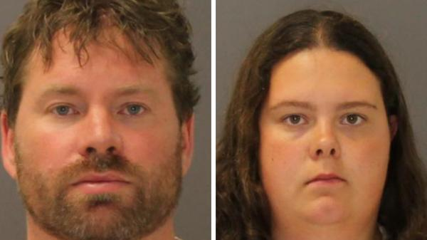 The booking photos of Stephen Howells II and Nicole Vaisey, who were charged Friday in the kidnapping of two Amish girls.