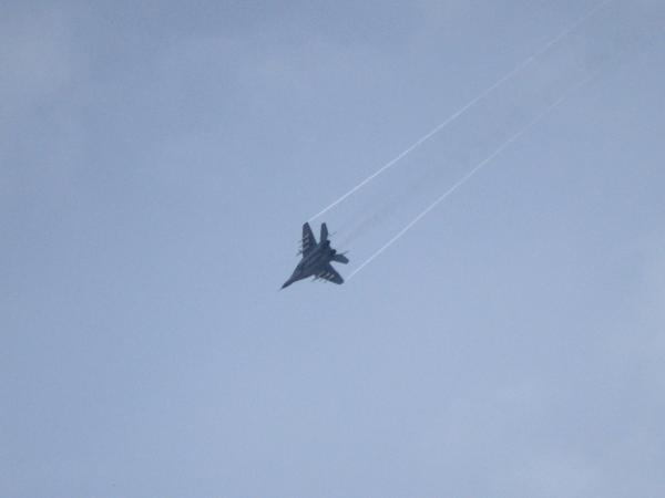 A Ukrainian MiG-29 fighter jet flies over Slovyansk, Ukraine, in May. Ukrainian officials acknowledged the same type of aircraft was shot down Sunday over the country's east.
