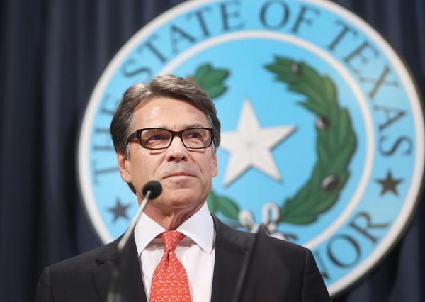 Governor Rick Perry at a press conference on August 16, 2014.