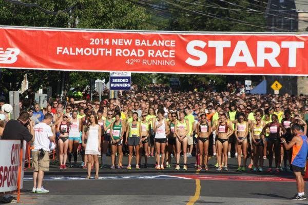 Runners line up for the start of the Falmouth Road Race on Sunday, Aug. 17, 2014. (Falmouth Road Race/Facebook)
