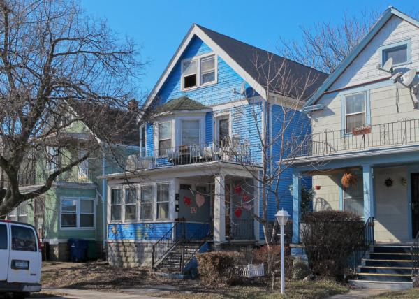 Pictured is the home Mike Puma bought for $1 in Buffalo, before repairs began. (Mike Puma)