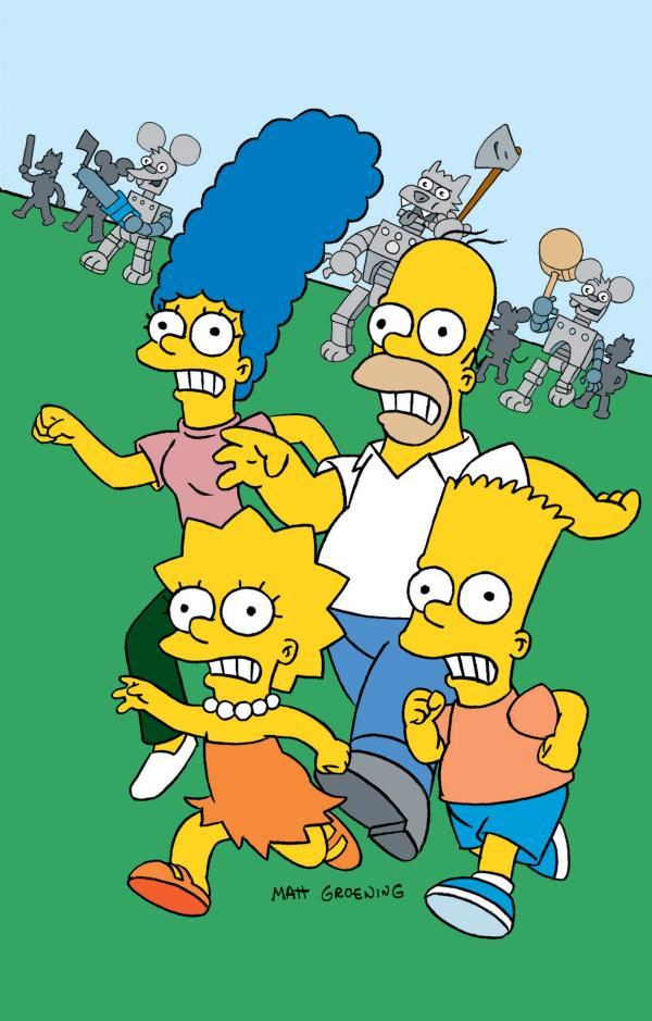 The Simpsons family in the <em>Itchy and Scratchy Land</em> episode in 1994.