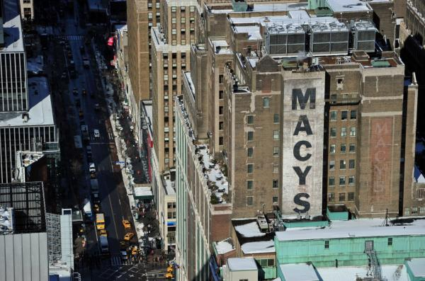 Macy's flagship store on West 34th Street in midtown Manhattan in this view from the Empire State Building February 14, 2014 in New York. (Stan Honda/AFP/Getty Images)