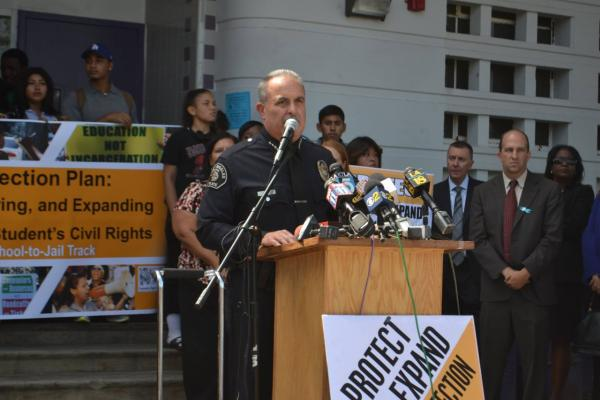 Steve Zipperman, chief of the Los Angeles School Police Department, announces the new school discipline initiatives, Aug. 19, 2014. (Los Angeles School Police Department/Facebook)