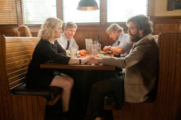 "Amy Poehler, Joel Gretsch, Owen Wilson, and Zach Galifianakis are pictured in a scene from Matthew Weiners's ""Are You Here?""  (Courtesy of Millennium Entertainment)"