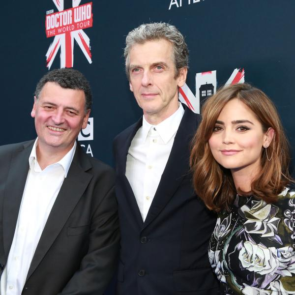 <em>Doctor Who</em> executive producer Steven Moffat (left) appears with series stars Peter Capaldi and Jenna Coleman in New York City.