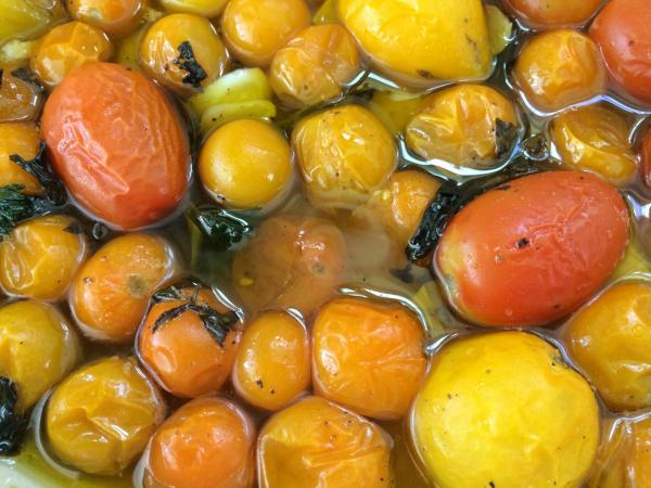 Slow-roasted cherry tomatoes. (Kathy Gunst/Here & Now)