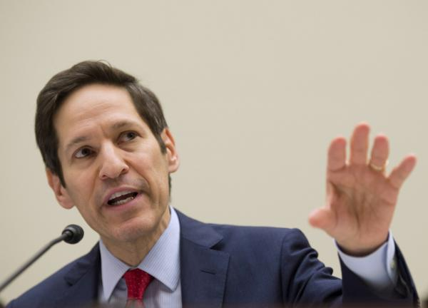 "Centers for Disease Control and Prevention (CDC) Director Dr. Tom Frieden testifies on Capitol Hill in Washington Thursday, Aug. 7, 2014, before the House subcommittee on Africa, Global Health, Global Human Rights, and International Organizations hearing on ""Combating the Ebola Threat."" (Molly Riley/AP)"