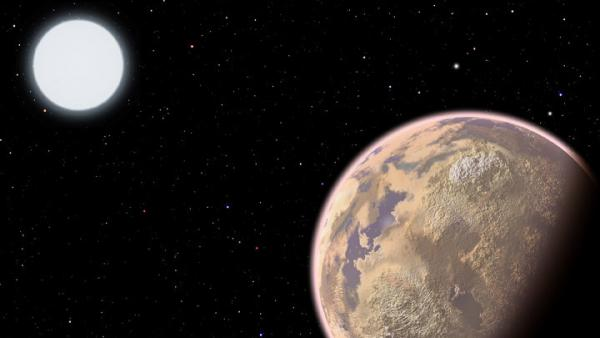 In this artist's conception, the atmosphere of an Earthlike planet displays a brownish haze — the result of widespread pollution.