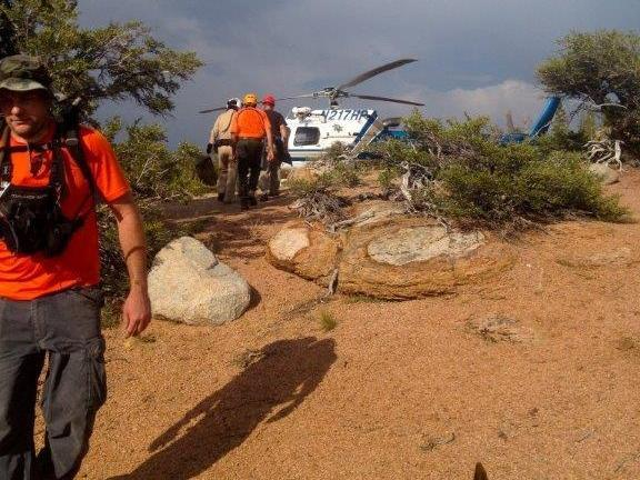 Members of the El Dorado County search and rescue team recover Mike Vilhauer from the Mokelumne Wilderness.