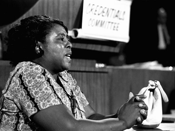 Fannie Lou Hamer, a leader of the Freedom Democratic party, speaks before the credentials committee of the Democratic national convention in Atlantic City, N.J., on Aug. 22, 1964.