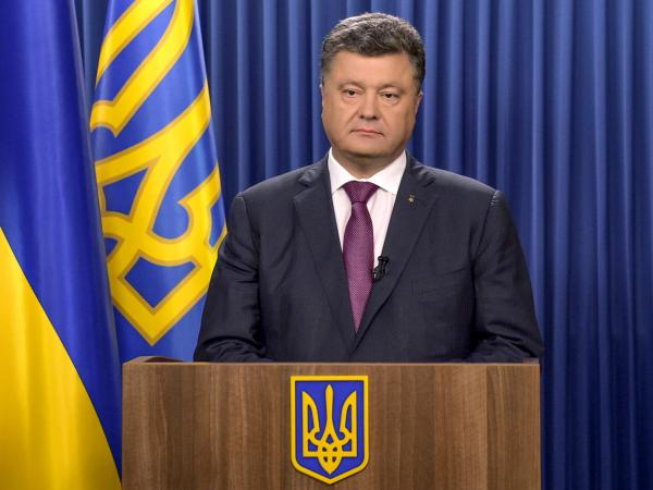 Ukrainian President Petro Poroshenko delivers a speech in Kiev on Monday dedicated to his decree to dissolve parliament.