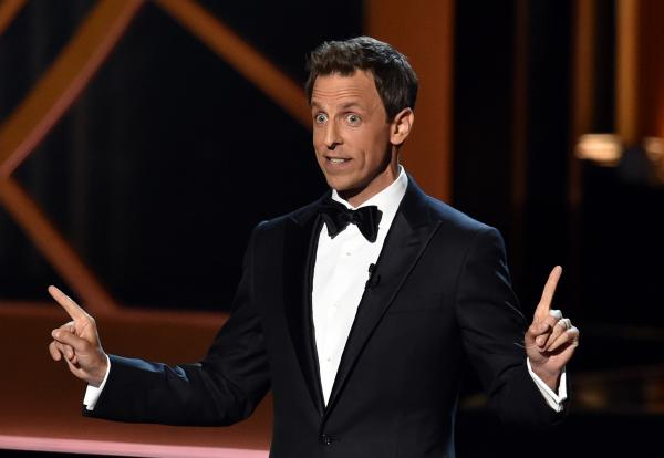 Host Seth Meyers speaks onstage at the 66th Annual Primetime Emmy Awards.