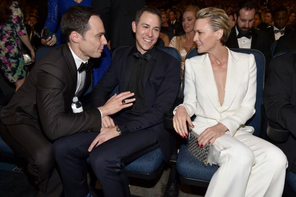 Jim Parsons of <em>The Big Bang Theory</em> (left), Todd Spiewak and Robin Wright of <em>House of Cards</em>.