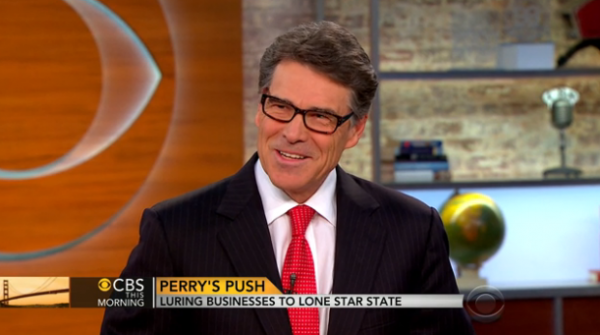 "Gov. Rick Perry, appearing on ""CBS This Morning"" earlier this year, has been wearing glasses for about a year."