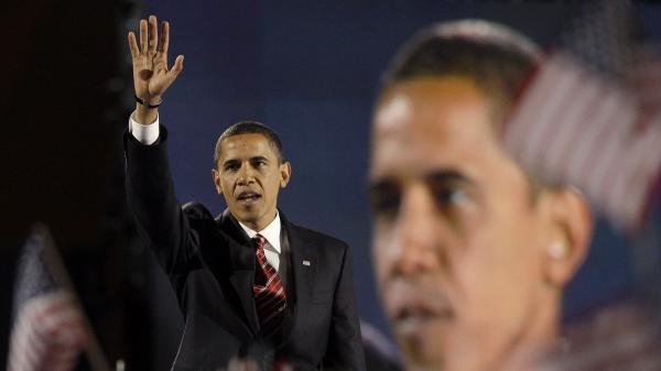 President-elect Barack Obama waves to his supporters after delivering his victory speech at his election night party Nov. 4, 2008, at Grant Park in Chicago.