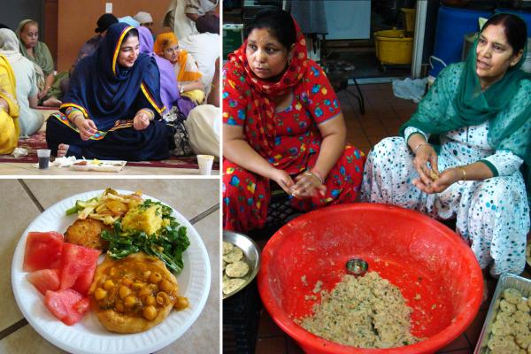 Women preparing and eating <em>langar</em>, a free meal served after the service at a Sikh gurudwara in Jersey City on Sundays. This one includes chickpeas in gravy, <em>aloo tikki (</em>potato patties<em>)</em>, salad, lentils and fruit. Traditionally, everyone eats side by side on the floor to symbolize equality.