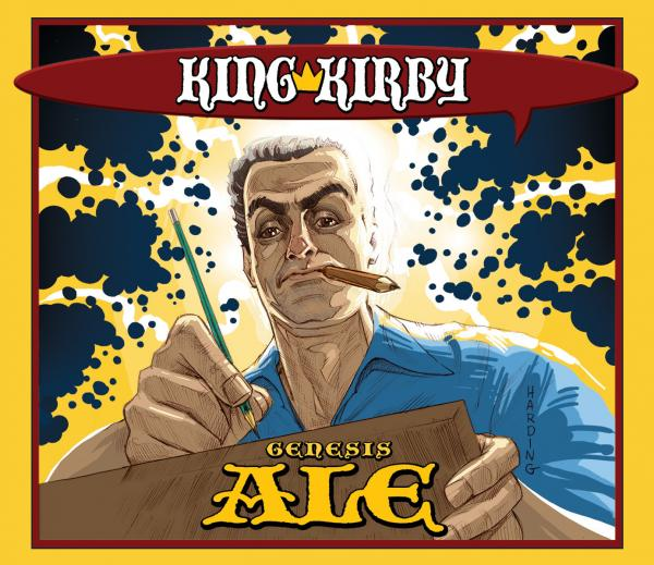 "Artist Paul Harding's take on Jack ""The King"" Kirby, which is featured on the special-edition beer brewed for a Kirby Day celebration at Schmaltz Brewery in Clifton Park, N.Y."