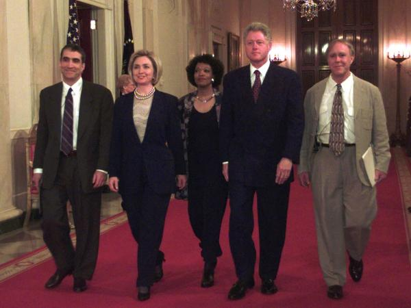 In this 1998 photo, President Bill Clinton and first lady Hillary Rodham Clinton are seen at the White House with Poets Laureate Robert Pinsky (left) Rita Dove (center) and Robert Haas (right).