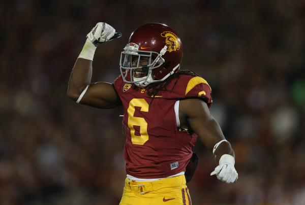USC Trojans cornerback Josh Shaw in brighter days.
