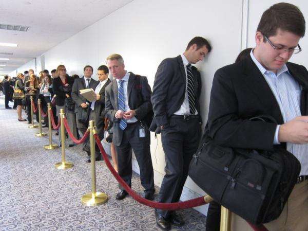 <p>The line for seating in the hearing room of the supercommittee's meeting on Wednesday. An NPR review found that 619 separate interest groups have reported lobbying the group. </p>