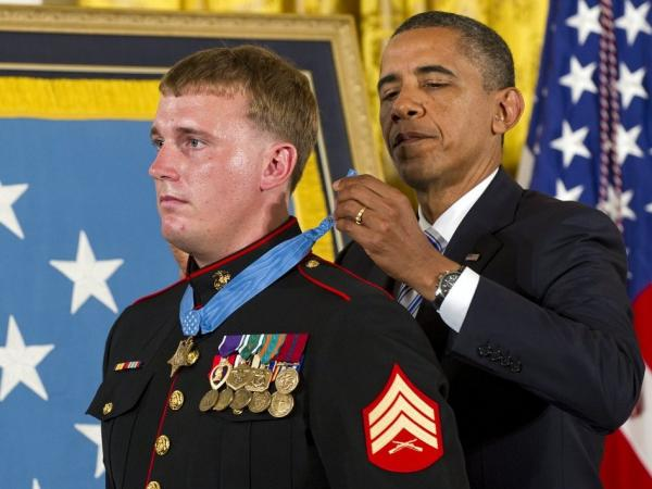 President Obama presents the Medal of Honor to Marine Corps Sgt. Dakota Meyer.