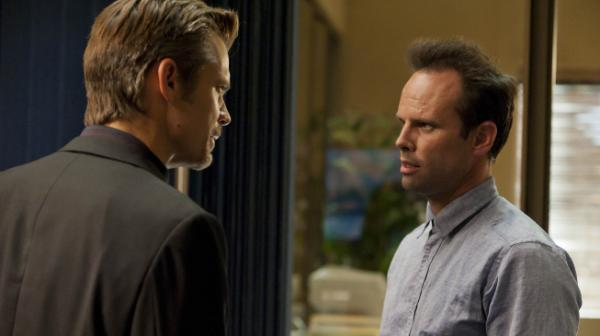 Timothy Olyphant (left) and Walton Goggins return for season three of <em>Justified</em>, along with a slew of guest stars including Carla Gugino and Neal McDonough.