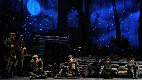 "In the French bunker, the soldiers are tired and dragging. They sing the ""Sleep Chorus"" as snow begins to fall."