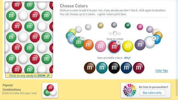 M&M's lets customers create their own mix by choosing colors and even adding personalized photos and messages.