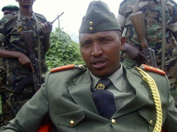 Gen. Bosco Ntaganda addresses a news conference in Kabati, a village located in Congo's North Kivu province, on Jan. 8, 2009. He showed up at the U.S. Embassy in Kigali on Monday and asked to be transferred to The Hague where is wanted on war crimes charges.
