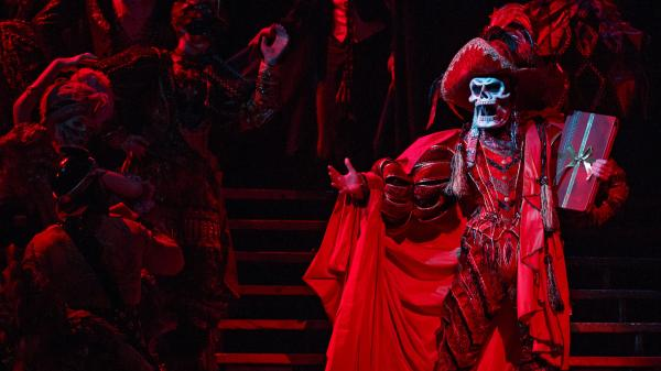 Hugh Panaro plays the title character — here done up as The Red Death for the show's spectacular masked-ball scene — in <em>The Phantom of the Opera,</em> Broadway's longest-running show. Twenty-two years ago, Panaro made his debut with the show as Raoul, the male romantic lead.