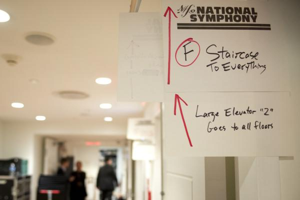 Backstage, a helpful sign to guide the out-of-town musicians find their way through the warrens of Carnegie Hall.
