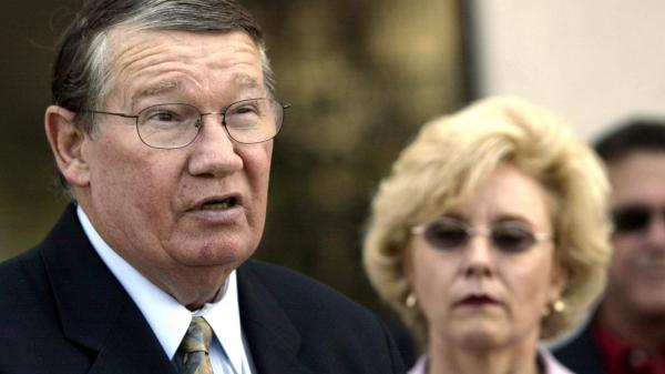 "Former Rep. Randy ""Duke"" Cunningham, seen here with his wife, Nancy, in 2005, has finished serving a seven-year sentence for bribery and tax evasion."