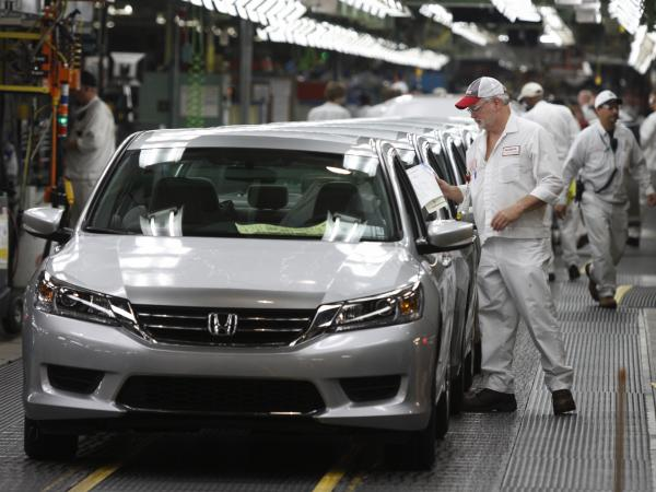 A 2013 Accord is ready to come off the line at the Honda automobile plant in Marysville, Ohio, in 2012. Accords built at the 4,400-employee plant are shipped to South Korea — an example of the importance of trade to manufacturing jobs.