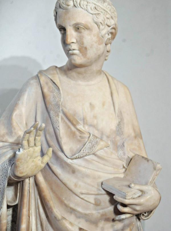 The damaged statue in Florence's Museo dell'Opera.