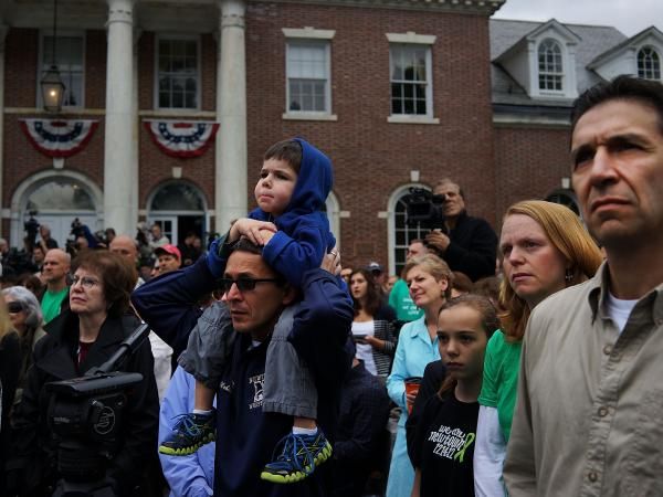 In June, people gathered in Newtown, Conn., to remember the massacre at Sandy Hook Elementary School.