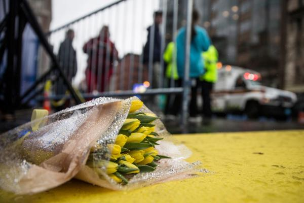 Flowers lie on the finish line of the Boston Marathon on the one year anniversary of the 2013 Boston Marathon Bombing, on April 15, 2014 in Boston, Mass. (Andrew Burton/Getty Images)