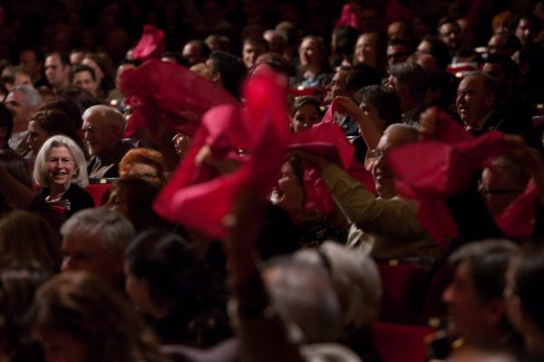 Spring for Music, the Carnegie Hall concert series featuring North American orchestras, encourages audience members to cheer for the Seattle Symphony by waving specially colored hankies.