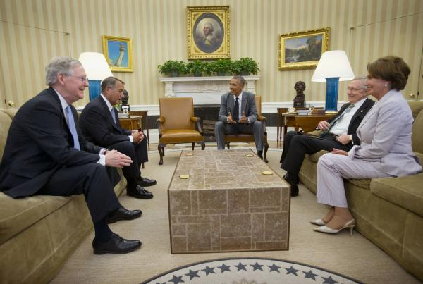 Before talking about the situation in Iraq, President Obama bantered with (from left to right) Senate Minority Leader Mitch McConnell, House Speaker John Boehner, Senate Majority Leader Harry Reid and House Minority Leader Nancy Pelosi.